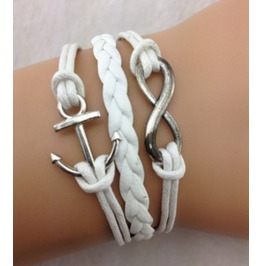 Handmade Wax Cords Anchor Charm Bracelet Infinity Vintage Bracelet