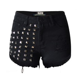 Women's Punk High Waisted Ripped Rivets Denim Shorts
