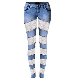 Women's Lace Sheer Denim Skinny Trousers