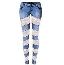 Women's Lace Sheer Denim Skinny Trousers