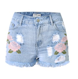 Bohemian Flowers Embroideried High Waisted Denim Shorts