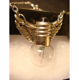 Steampunk Flying Light Bulb Wings Necklace