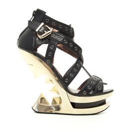 Black Gold Taunt Glam Rock Gothic Punk Peeptoe Platform Wedge Sandals
