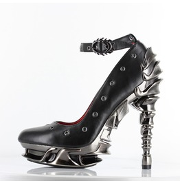 Sexy Zephyr Black Vegan Leather Steampunk Gothic Platform Stiletto Heels