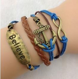 Handmade Wax Cords Anchor Believe Charm Bracelet Infinity Vintage Bracelet