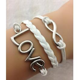 Handmade Wax Cords True Love Charm Bracelet Infinity Bracelet