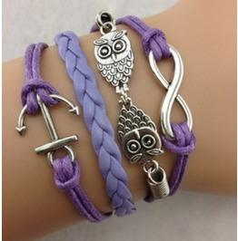 Handmade Anchor Owls Charm Bracelet Infinity Bracelet