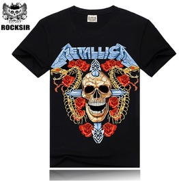 3 D Punk Fashion Metallica Band Printing Men's Short Sleeved T Shirt