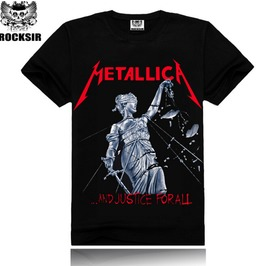 3 D Punk Fashion Street Metallica Band Printing Men's Short Sleeved T Shirt