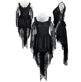 Dark In Love Gothic Ghost Dovetail Lace Dress