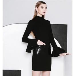 Bell Sleeves Patch Pocket Short Black Dress