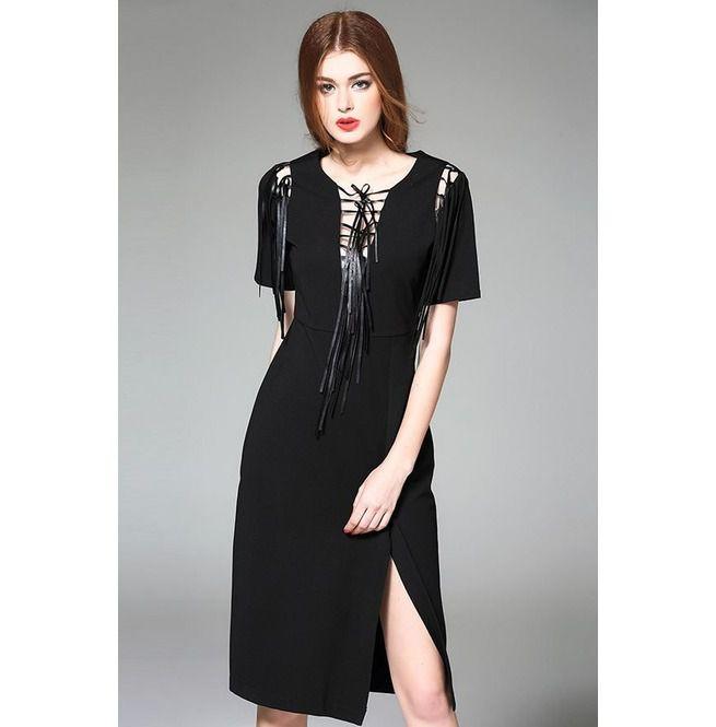 61388b7803b2 Sexy Deep V Neck Lace Up Black Dress