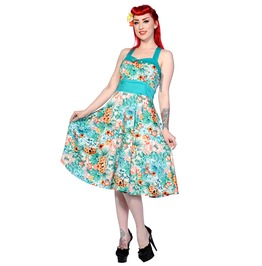 Banned Apparel Tropical Floral Blue Dress