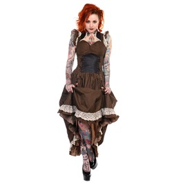 Banned Apparel Brown Black Striped Victorian Dress