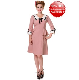 Banned Apparel Dusty Pink School Retro Dress