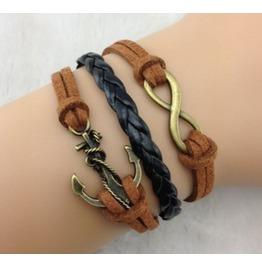Handmade Anchor Brown Rope Charm Bracelet Infinity Bracelet