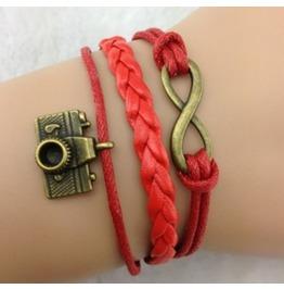 Handmade Red Rope Camera Charm Bracelet Infinity Bracelet