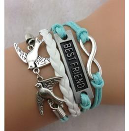 Handmade Birds Best Friend Charm Bracelet Infinity Bracelet