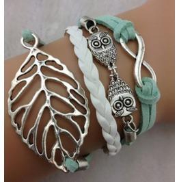 Handmade Owls Leaf Charm Bracelet Infinity Bracelet