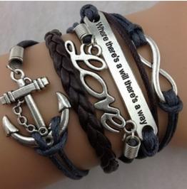 Handmade Anchor Love Wax Rope Charm Bracelet Infinity Bracelet