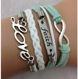Handmade Faith Love Wax Rope Charm Bracelet Infinity Bracelet