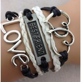 Handmade Love To Love Heart Wax Rope Charm Bracelet Infinity Bracelet