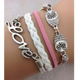Handmade Love Wax Rope Charm Infinity Two Owls Bracelet Friendship