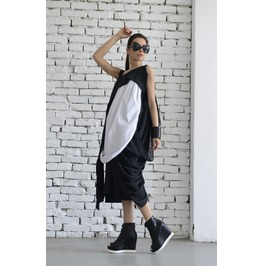 Black White Dress/ Maxi Dress/ Kaftan/ Draped Black White Dress
