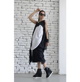 Black White Dress/ Maxi Dress/ Kaftan/ Draped Black White Dress