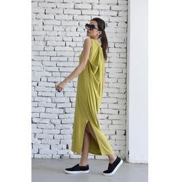 Mustard Loose Spring Dress/Sleeveless Oversize Tunic/Yellow Maxi Dress
