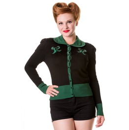 Banned Apparel Black Green Vintage Bow Cardigan