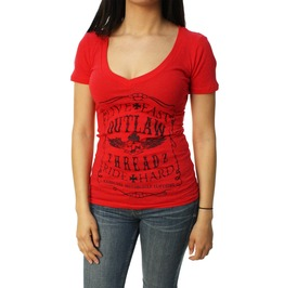 Live Fast Ride Hard Vneck Red