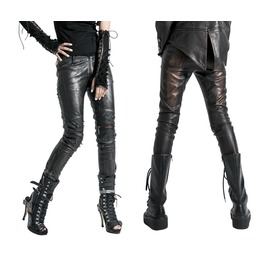 Black Bronze Silver Vegan Leather Punk Pants Gothic Pleather