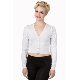 Banned Apparel Little Luxury Cropped Cardigan White, Red, And Black