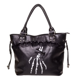Gothic Skeleton Hand Bones Shoulder Bag Lace Handbag Halloween Black