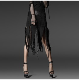 Torn Frayed Black Goth Pleather Waist Witch Skirt Punk Rave $9 To Ship