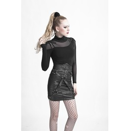 Fetish Pleather Bondage Corset Back High Waisted Vegan Leather Buckle Skirt