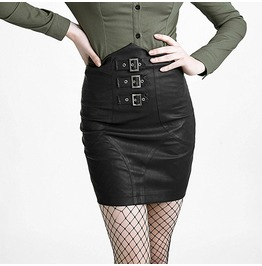 Fetish Pleather Corset Back High Waisted Vegan Leather Buckle Skirt $9 Ship