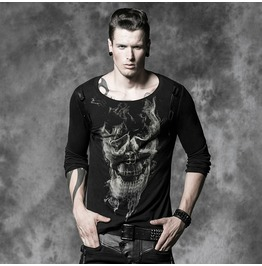 Mens Black Long Sleeve Skull Print Goth Shirt Sizes Up To 3 Xl $9 To Ship