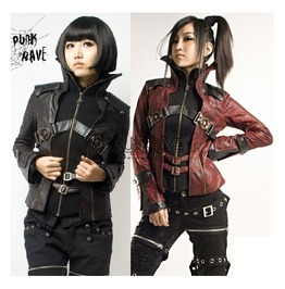 Ladies Black Or Red Punk Rave Pleather Steampunk Buckle Jacket Free To Ship