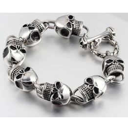 Gothic Biker Stainless Steel Skull Head Chain Bracelet