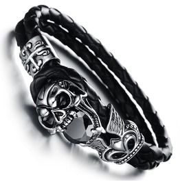 Unisex Stainless Steel Black Genuine Leather Skull Gothic Bracelet