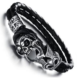 Unisex Stainless Steel Black Genuine Leather Skull Gothic Bracelet