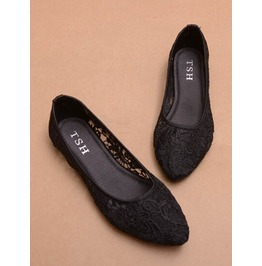 Lace Black Shoes Women Flats B03