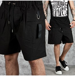 D Ring Accent Cargo Pocket Black Shorts 49