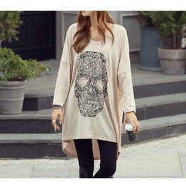 Summer New Large Size Women Loose Skull Irregular Long Sleeved T Shirt