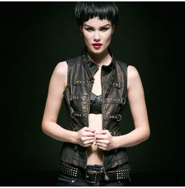 Black Copper Steampunk Faux Leather Vest Gothic Vegan Pleather