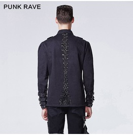 Mens Spine Back Snap Long Sleeve Goth Punk Rave Dress Shirt Size S To 4 Xl