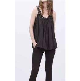 Casual Sleeveless Black Lace Top