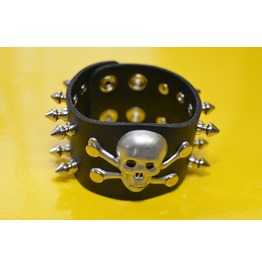 Spike And Skull Gothic Punk Bracelet Premium Leather Thrash Metal Cosplay